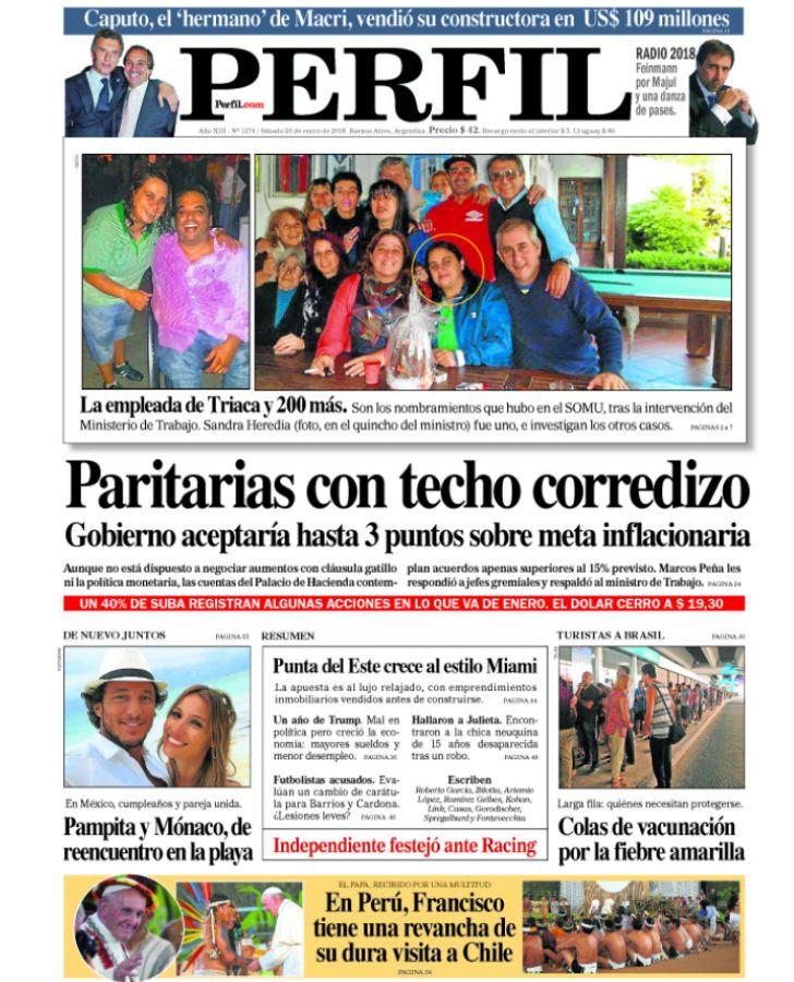 Tapa del Diario Perfil del sábado 20 de enero de 2018.