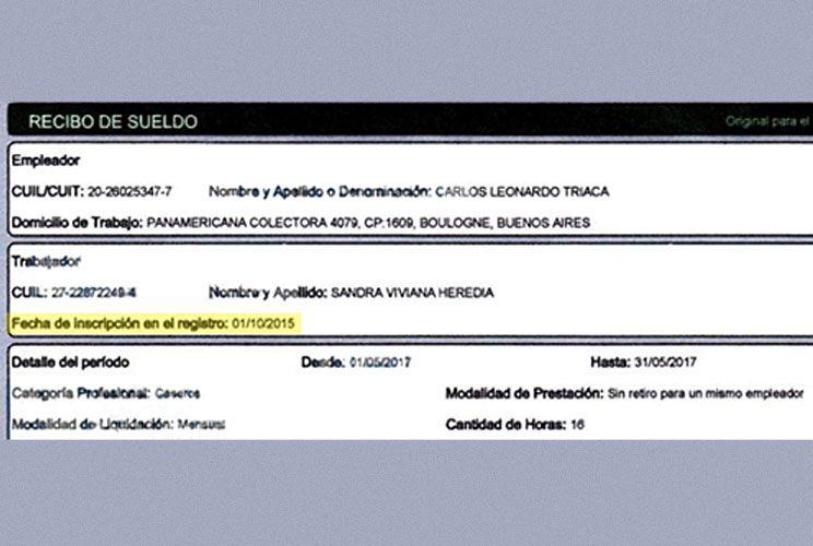 """Sueldo. El recibo de Heredia, """"blanqueada"""" recién en 2015."""