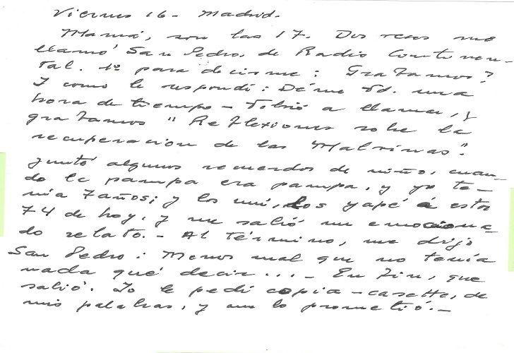 CARTAS. La carta de Atahualpa dirigida a su esposa fue elegida por ser escrita desde Madrid, en el marco del conflicto bélico por las Malvinas.