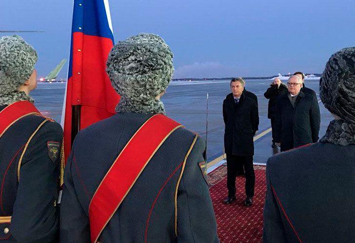El presidente de la Nación, Mauricio Macri llega a Rusia.