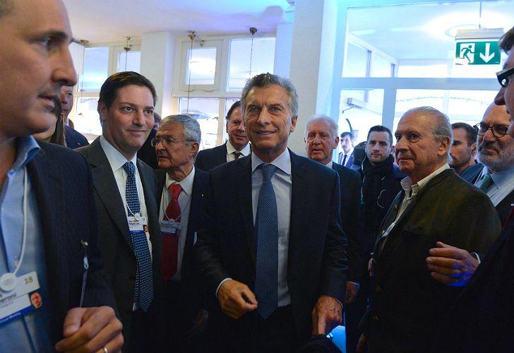 El presidente Mauricio Macri al arribar la ciudad suiza de Davos donde participará del Foro Económico Mundial.