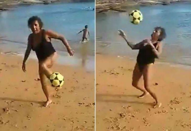 Una abuelita brasileña sorprendió por su destreza con un balón