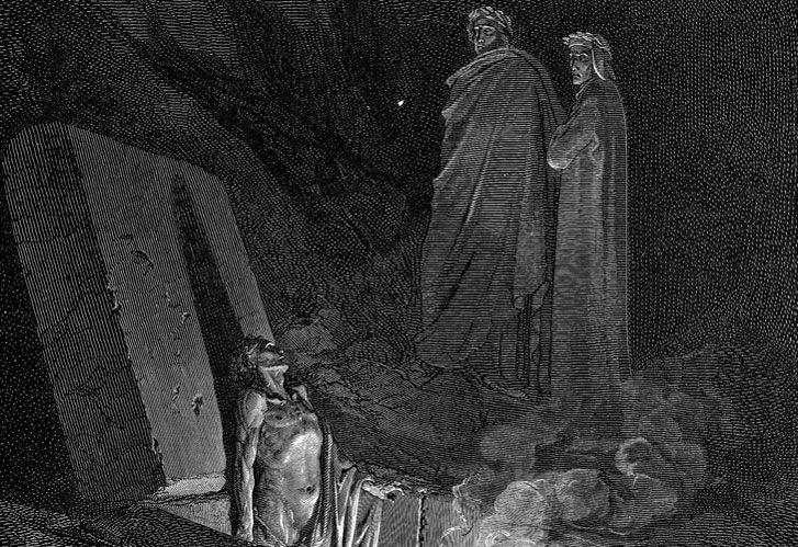 'EL INFIERNO (Canto 10)' . Grabado de Gustavo Doré para la Divina Comedia, del Dante.