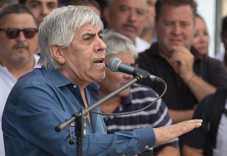 Hugo Moyano durante la marcha convocada la semana pasada.