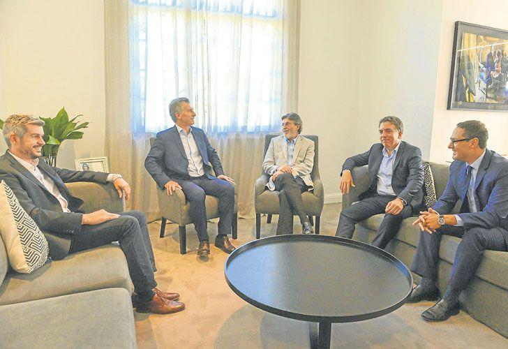 Despedida. PERFIL anticipó en octubre que se venía la renuncia en AFIP. Ayer, Macri y Peña, con Abad, Dujovne y el sucesor, Cuccioli.
