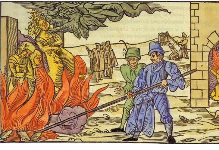 """A la hoguera. Grabado de autor anónimo de la quema de una bruja en la localidad alemana de Deremburg, en 1555. """"A veces, los virtuosos son misóginos, absolutistas, matan a los distintos""""."""