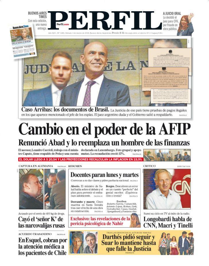 La tapa de Diario PERFIL.