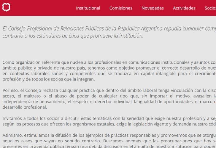El Consejo Argentina de RR.PP publicó un comunicado luego de las denuncias por acoso.