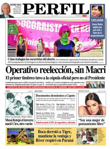 Portada del diario Perfil del domingo 11 de marzo de 2018.