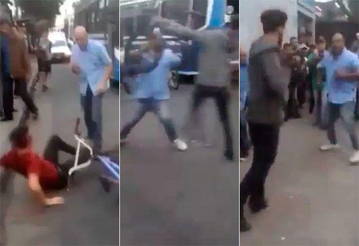 Brutal pelea entre colectiveros y ciclistas