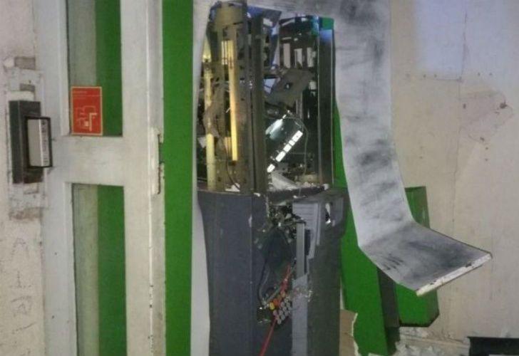 El cajero quedó así tras la explosión.