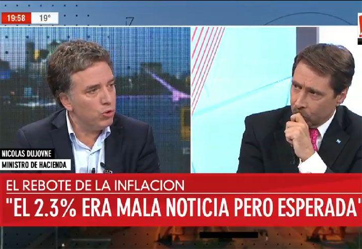 Nicolás Dujovne entrevistado por Eduardo Feinmann en A24.