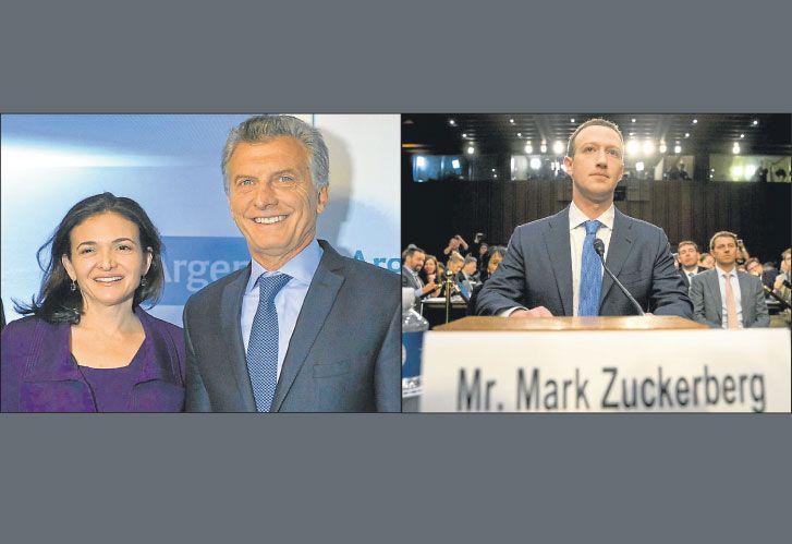 Sheryl Sandberg, COO de Facebook, con Macri; y el fundador Mark Zuckerberg, ante el Senado de EE.UU.