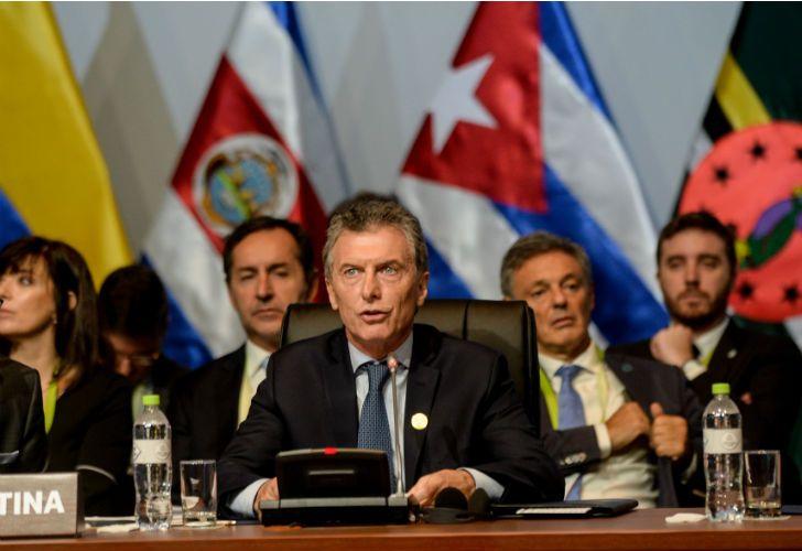El presidente Mauricio Macri en la Cumbre de las Américas, encuentro que se realiza en la ciudad de Lima, Perú.