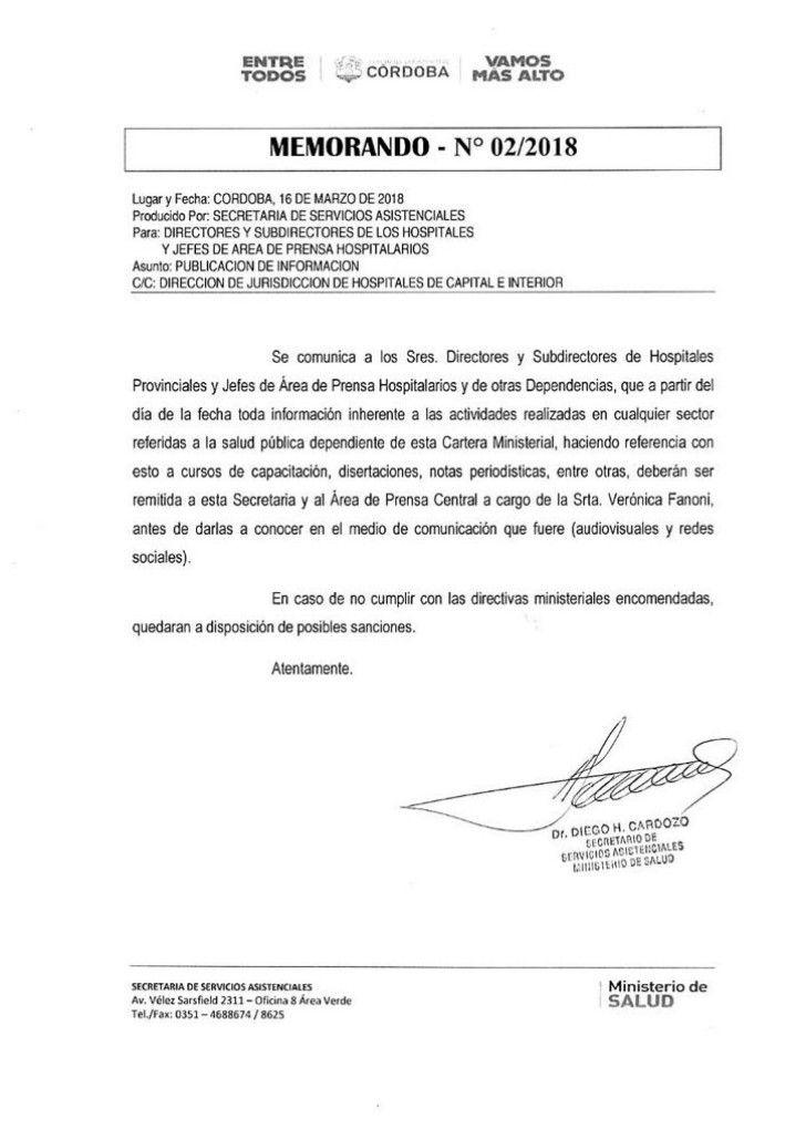 Copia del memorando N° 2/2018 enviado el 16 de marzo a los directores y subdirectores de los 42 hospitales de la Provincia, así como a los jefes de áreas de prensa hospitalarios.