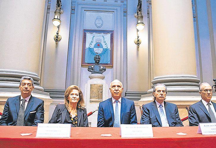 Internas. Rosatti, Highton, Lorenzetti, Maqueda y Rosenkrantz, en la apertura del año judicial.