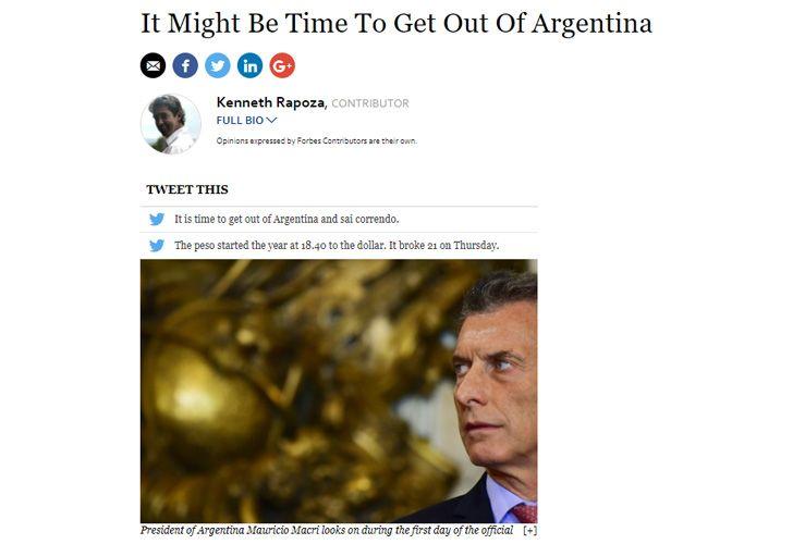 El artículo de Forbes que advierte sobre la economía argentina.
