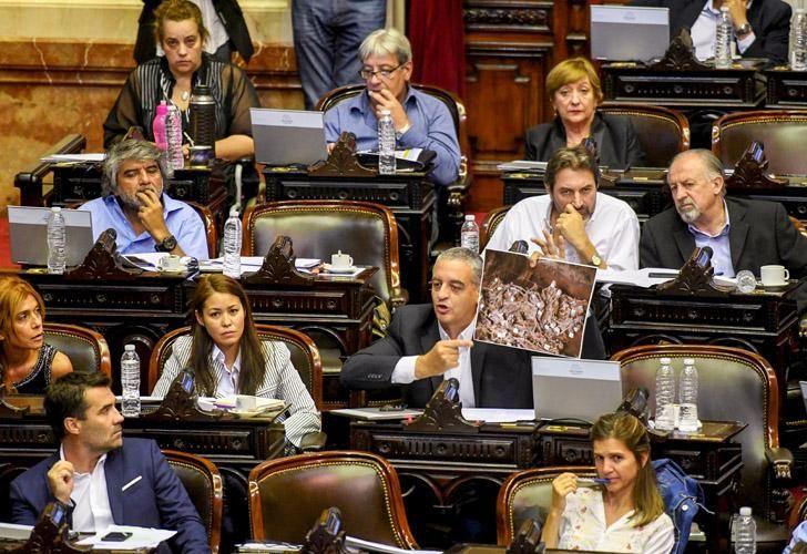 Duro recuerdo. La foto que agitó el diputado Horacio Pietragalla Corti.
