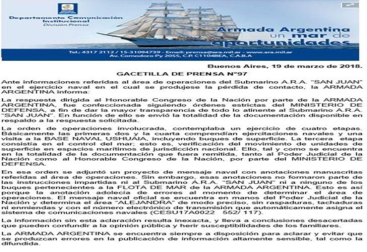 Argentina: Confirman que desaparecido submarino San Juan pasó cerca de Las Malvinas