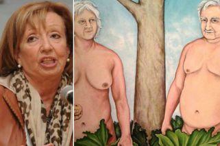 Izquierda. La ministra de Educación y Cultura, María Julia Muñoz. Derecha. El cuadro de la polémica.