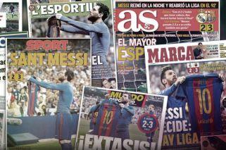 Messi se robó las tapas de todos los diarios españoles