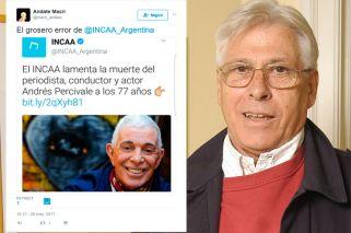 El INCAA confundió a Andrés Percivale con ¡Carlos Perciavalle!