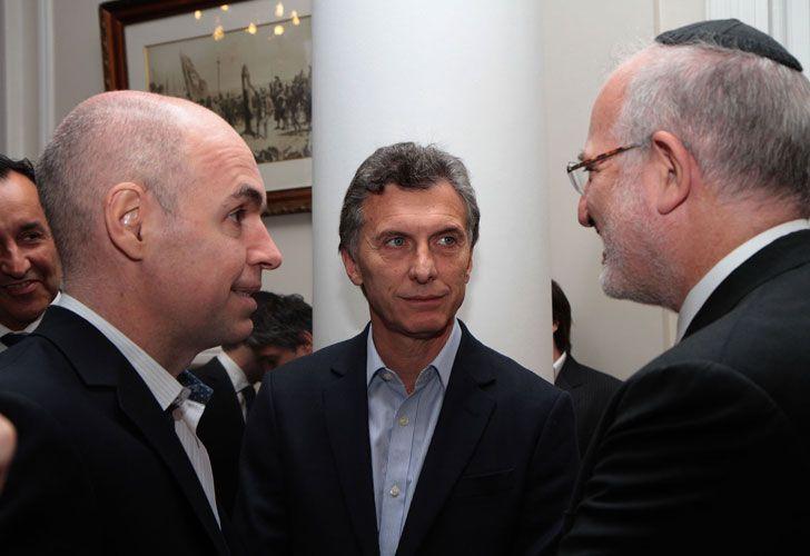 TIRO. Rodríguez Larreta, Macri y el desarrollador Eisztain (IRSA).