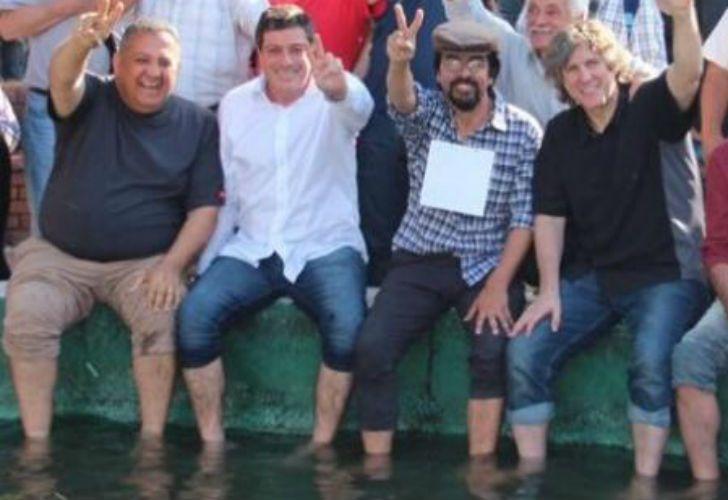 Luis D'Elía, Gabriel Mariotto, Fernando Esteche y Amado Boudou en Plaza de Mayo.