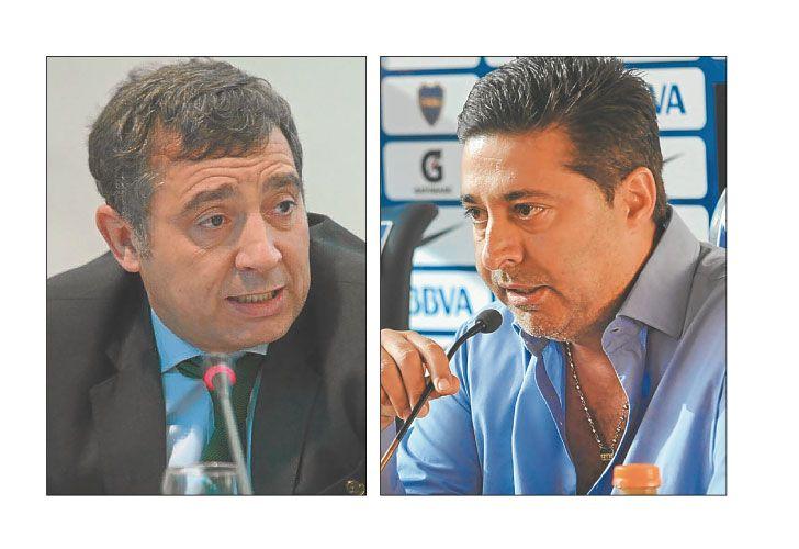 Adversarios. El asesor Rodríguez Simón y el presidente de Boca.