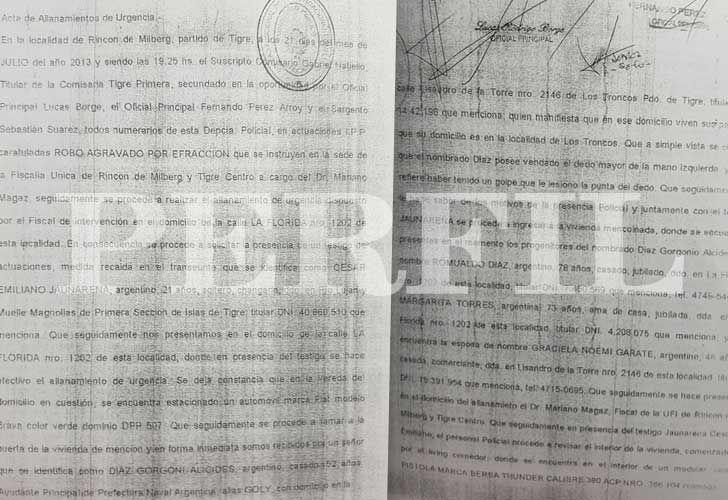 El acta del allanamiento del domicilio de Gorgonio Díaz que describe el procedimiento y lo confiscado, con las firmas de los testigos.
