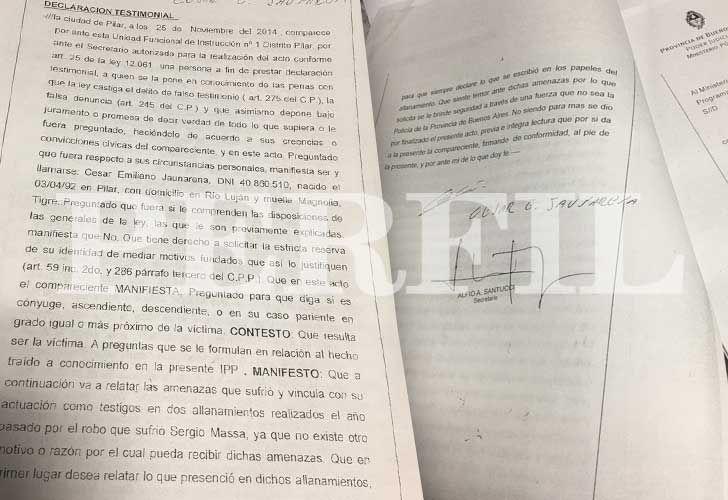 La declaración del testigo César Jaunarena, quien denunció amenazas para que no contara las irregularidades de los allanamientos.