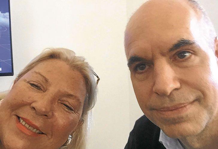 Selfie. Lilita y Larreta, el jueves durante su reunión en Olivos.