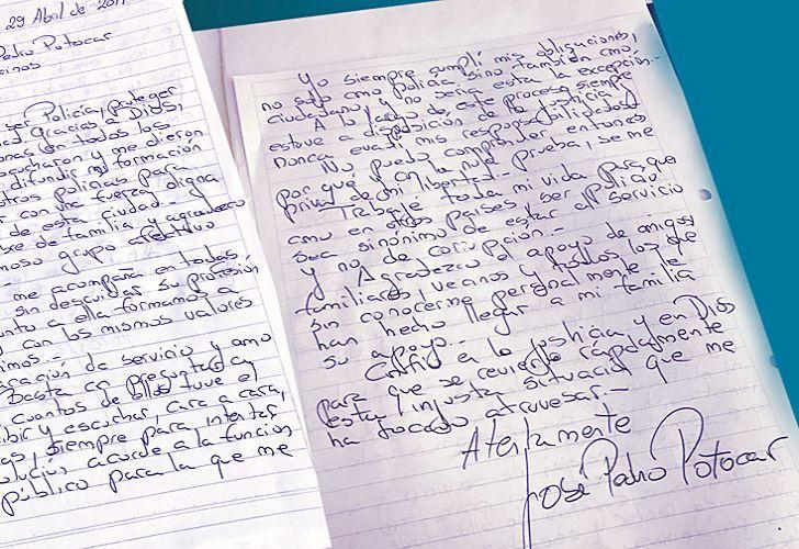 De puño y letra. El comisario general se dirigió a los vecinos en una carta que envió a PERFIL. En dos carillas da su visión del caso.