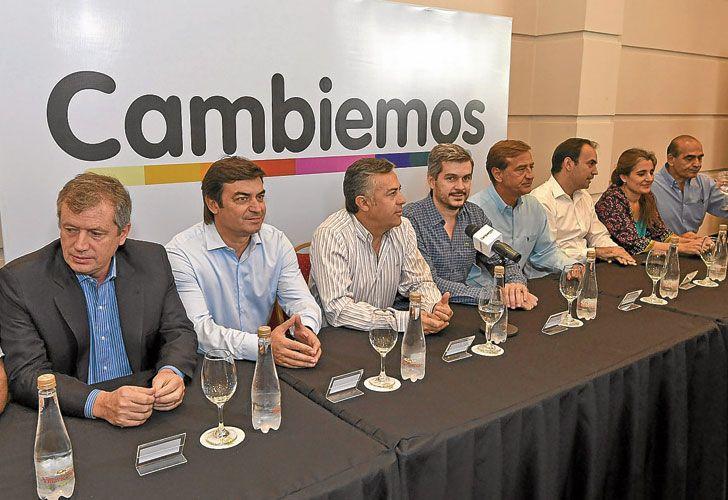 Cumbre. Monzó, De Marchi, Cornejo y Peña ayer, en el encuentro de Cambiemos en Mendoza.