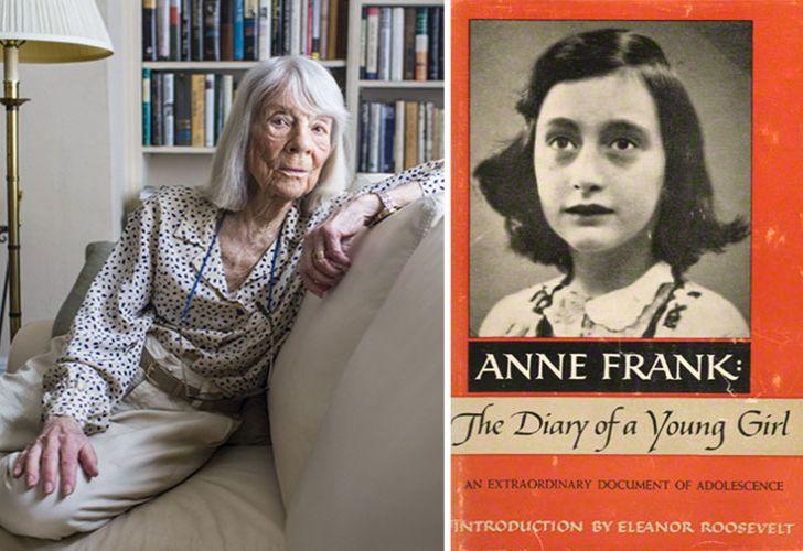 Jones. La editora estadounidense y la cubierta de la primera edición aparecida en los Estados Unidos y Ana Frank.