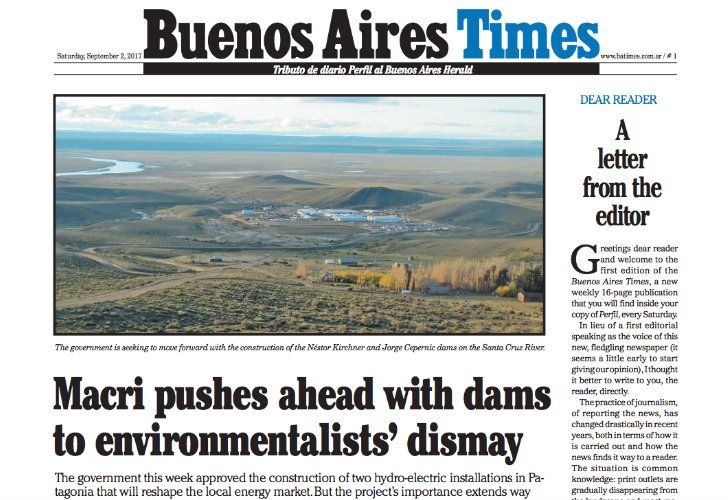 Buenos Aires Times' first front page.