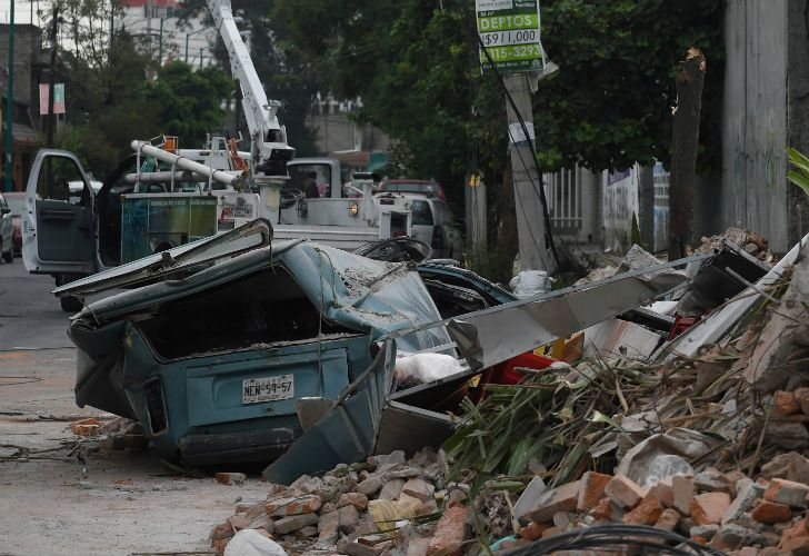 A view of a street in the eastern area of Mexico City, the morning after a powerful 8.2-magnitude earthquake struck the country.