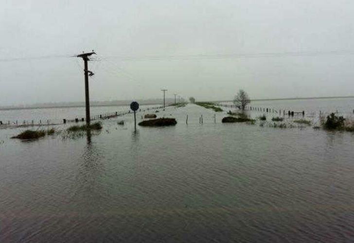 La localidad de Rancul, en La Pampa, aislada por las intensas lluvias.
