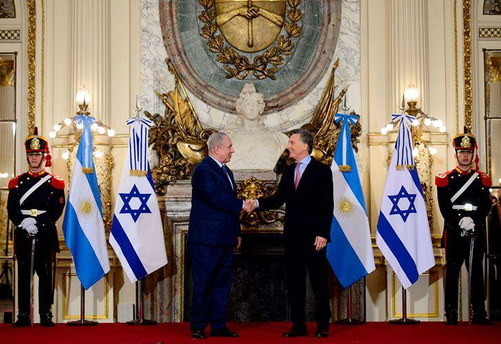 El Presidente recibió al Primer Ministro de Israel en la Casa Rosada en medio de un fuerte operativo de seguridad.