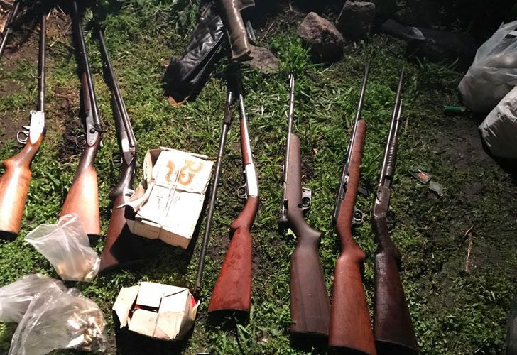 En total, hallaron ocho carabinas, veintidós escopetas, seis fusiles, once revólveres y cinco pistolas.