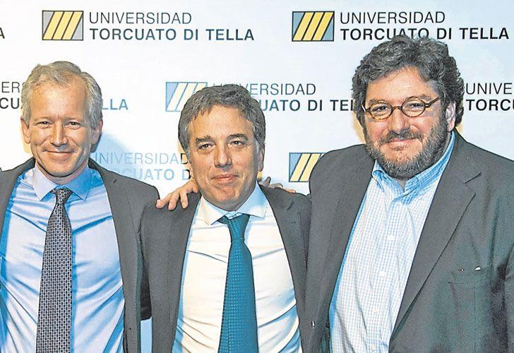 En la Di Tella. El rector Ernesto Schargrodsky y los ministros Dujovne y Avelluto.