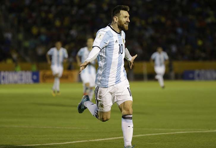 Lionel Messi celebrates after scoring his third goal against Ecuador during their 2018 World Cup qualifying soccer match at the Atahualpa Olympic Stadium in Quito, Ecuador on Tuesday night.