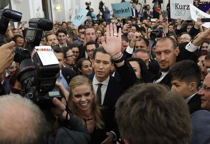 Foreign Minister Sebastian Kurz, head of Austrian People's Party, arrives to the election party in Vienna, Austria, Sunday, Oct. 15, 2017, after the closing of the polling stations for the Austrian national elections.
