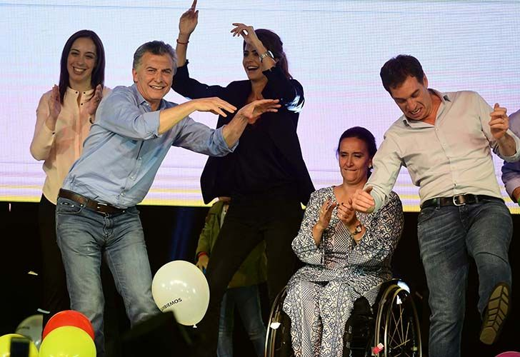 Argentina's President Mauricio Macri (2-L) dances with his wife Juliana Awada (C), Argentina's Vice President Gabriela Michetti (2-R) Buenos Aires Governor Maria Eugenia Vidal (L) and Buenos Aires vice-major Diego Santilli during celebrations last night.