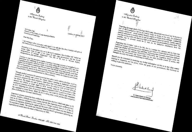 Ambassador Sersale di Cerisiano's letter defending the Mauricio Macri administration.