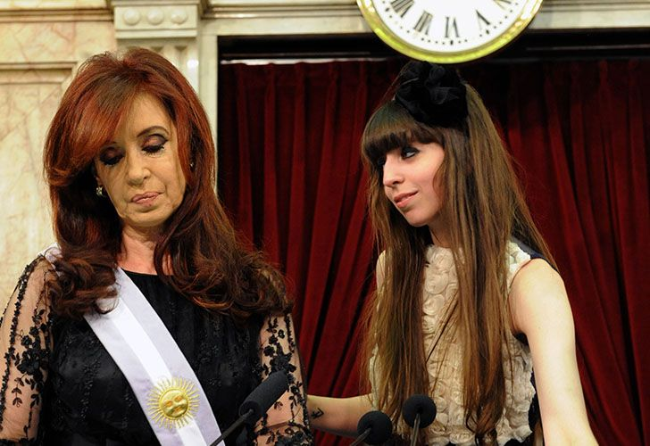 Florencia Kirchner (right) stands with her mother Cristina in this stock photo.