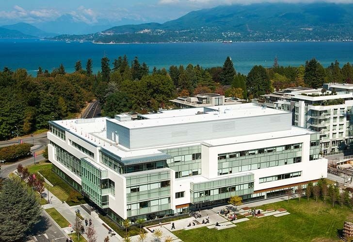 Aerial view of UBC law building, at Allard Hall in Vancouver, British Columbia, Canada.