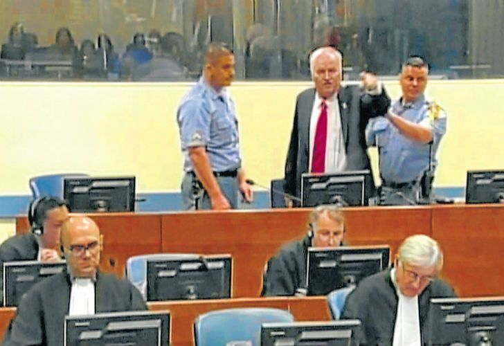 Bosnian Serb wartime military chief Ratko Mladic yells angrily during his trial by the International Criminal Tribunal for the former Yugoslavia.