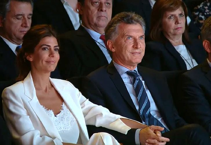 President Mauricio Macri and his wife Juliana Awada watch the hand-over ceremony of the G20 in the CCK cultural centre in Buenos Aires on Wednesday November 30, 2017.