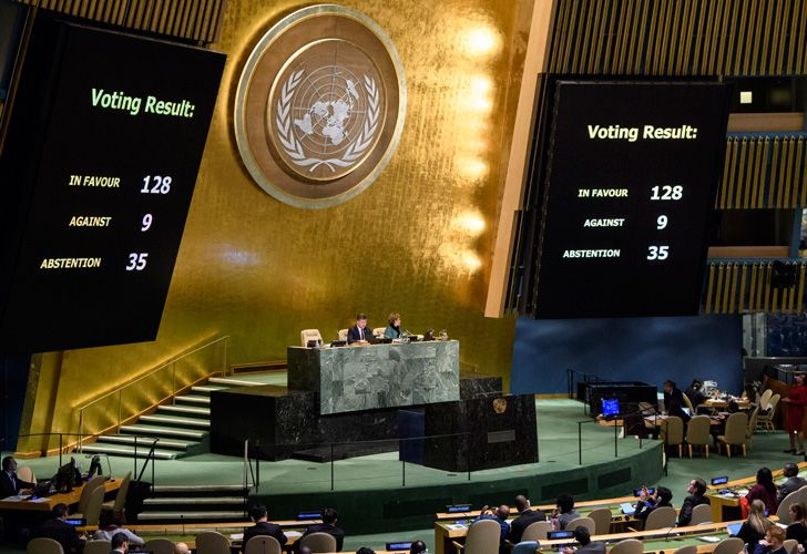 The results of a vote are posted in the General Assembly at United Nations headquarters. The UN General Assembly voted 128-9 with 35 abstentions on Thursday in favour of a non-binding resolution declaring US President Donald Trump's recognition of Jerusalem as Israel's capital